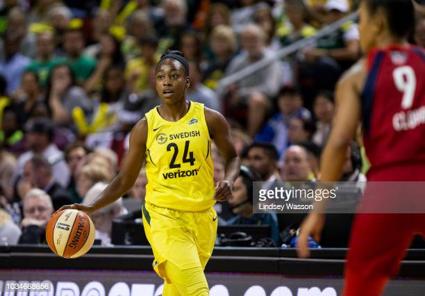 Jewell Loyd of the Seattle Storm looks for an opening as she pushes towards the basket against the Washington Mystics during the first half of Game 2...