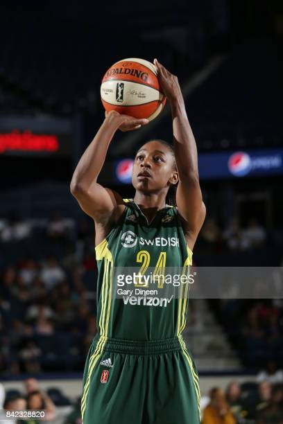 Jewell Loyd of the Seattle Storm shoots a free throw against the Chicago Sky on September 3 2017 at Allstate Arena in Rosemont IL NOTE TO USER User...