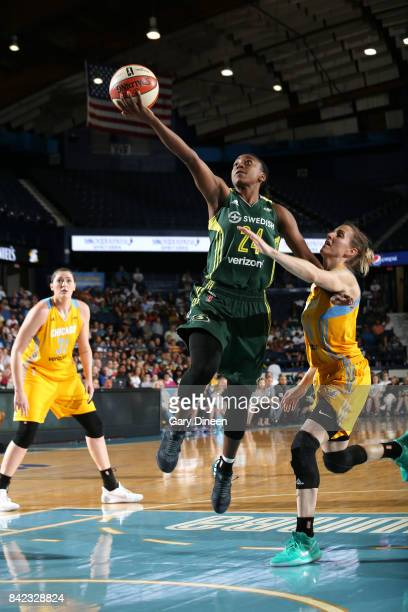 Jewell Loyd of the Seattle Storm shoots a lay up against the Chicago Sky on September 3 2017 at Allstate Arena in Rosemont IL NOTE TO USER User...