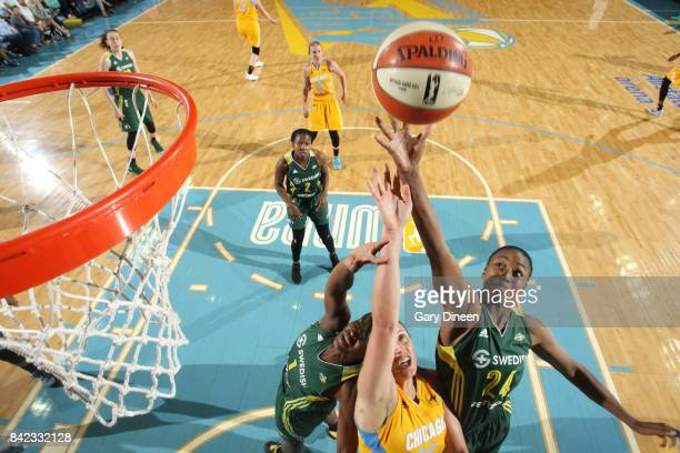 Jewell Loyd of the Seattle Storm shoots the ball against the Chicago Sky on September 3 2017 at Allstate Arena in Rosemont IL NOTE TO USER User...