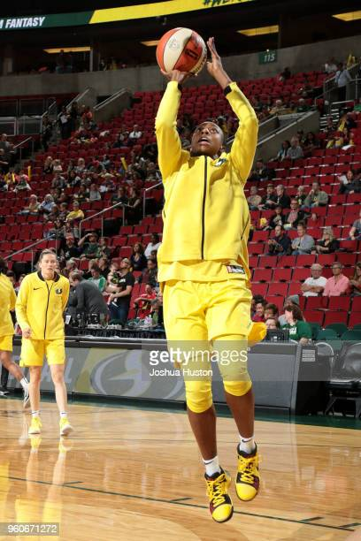Jewell Loyd of the Seattle Storm shoots the ball before the game against the Phoenix Mercury on MAY 20 2018 at KeyArena in Seattle Washington NOTE TO...