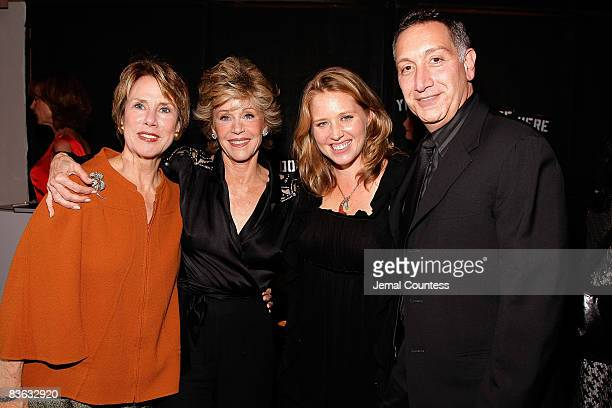 Jewelle W Bickford actress Jane Fonda Amy Redford and director Moises Kaufman attend the 2008 Sundance Gala cocktail party at Roseland Ballroom on...