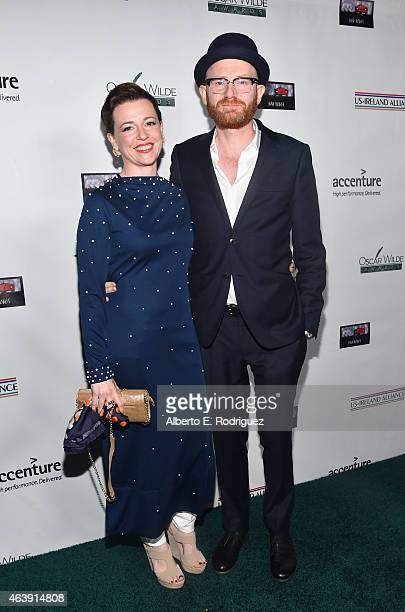 Jeweller Yvonne Ross and producer Paul Young attend the USIreland Aliiance's Oscar Wilde Awards event at JJ Abrams' Bad Robot on February 19 2015 in...