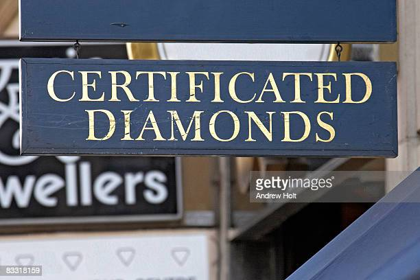 jewellers sign in london. certified diamonds - certificate stock pictures, royalty-free photos & images