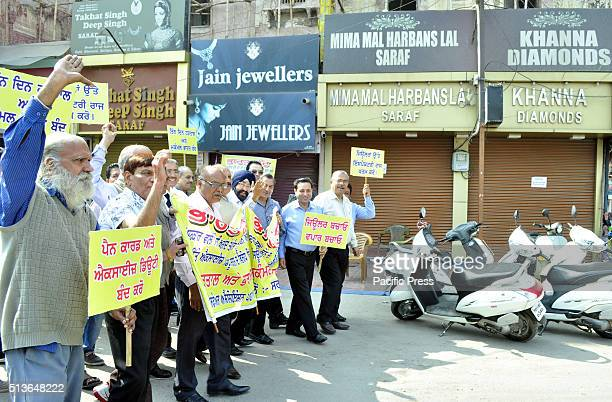 Jewellers stage protest on the second day of their threeday strike against union government on the proposed reimposition of 1 per cent excise duty...