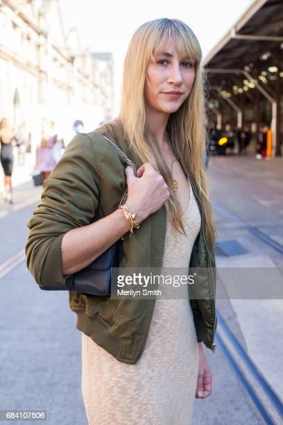 Jewellery Designer Holly Ryan is wearing a Hansen and Gretel dress vintage bomber and Holly Ryan jewellery during MercedesBenz Fashion Week Resort 18...