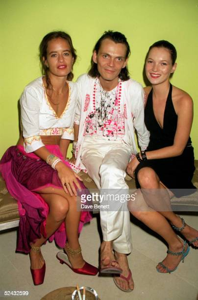 Jewellery designer Jade Jagger fashion designer Matthew Williamson and model Kate Moss at a party held at the St Martin's Lane Hotel on September 23...