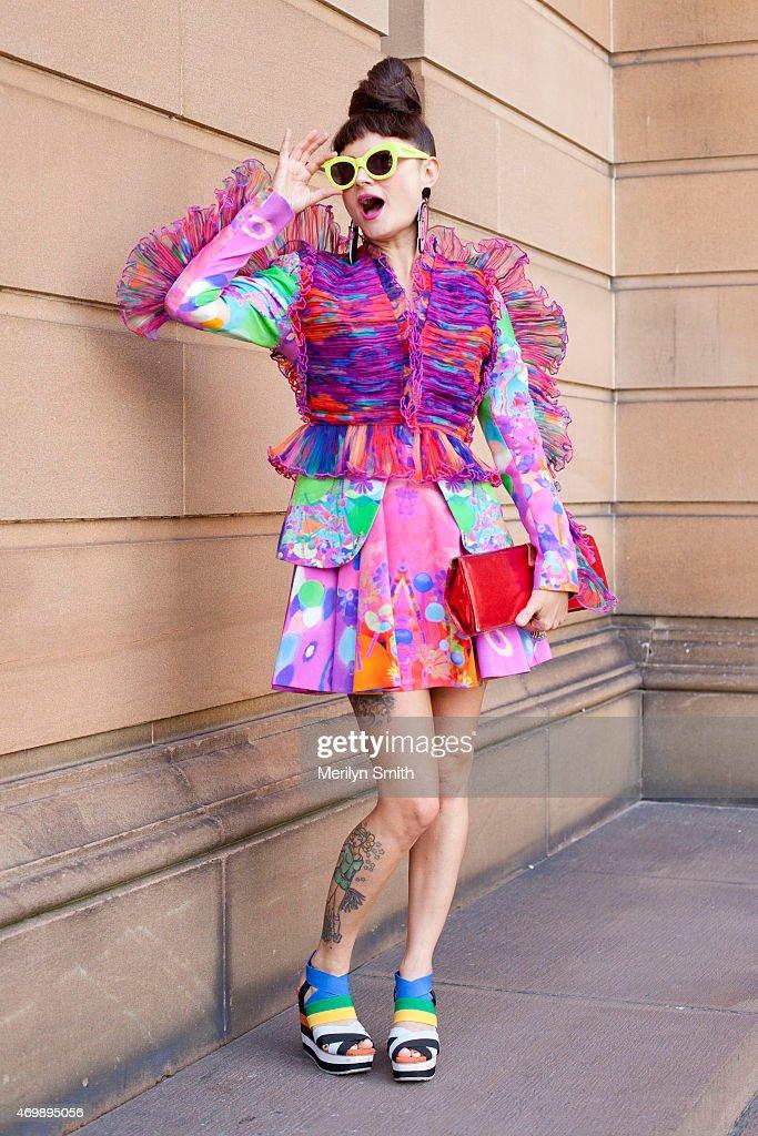 Jewellery Designer Nikita Margarita wears a Romance Was Born dress, Doodad and Fandango earrings, Karen Walker sunglasses, Ace and Diamond bag and Shag shoes at Mercedes-Benz Fashion Week Australia 2015 at Carriageworks on April 16, 2015 in Sydney, Australia.
