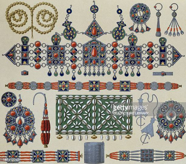 Jewellery from Kabylie Africa lithography by Schmidt published in Le costume historique Volume I by Auguste Racinet