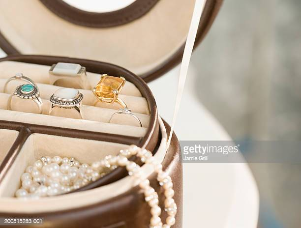 jewellery in jewellery box, close-up, cropped - jewelry box stock pictures, royalty-free photos & images