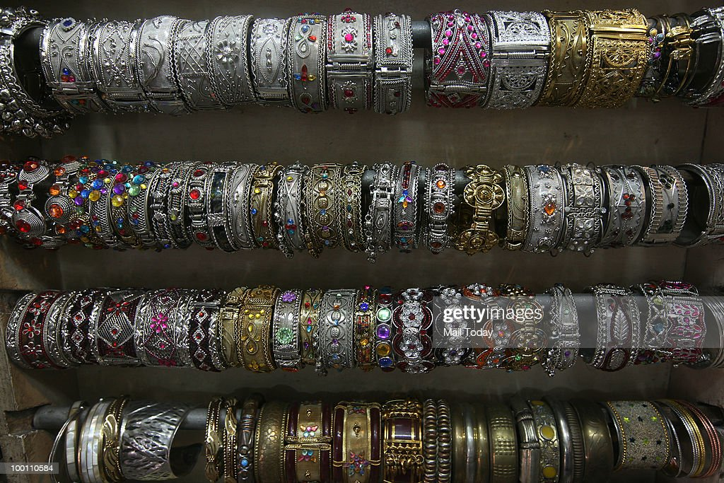 Jewellery is displayed at a shop in the Janpath market in New Delhi on May 19, 2010.