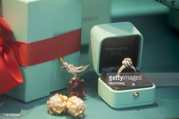 Jewellery sits on display in the window of a Tiffany Co luxury jewelry store in London UK on Monday Nov 25 2019 LVMH Moet Hennessy Louis Vuitton SE...