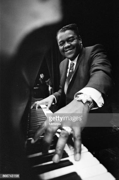 Jewellery studded Fats Domino at the Saville Theatre weighed down with £59000 worth of jewellery Pictured Domino at the piano of the stage of the...