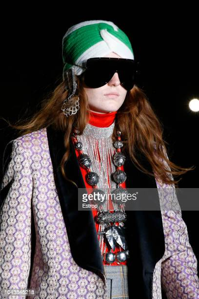 Jewelry and eyewear detail at the Gucci show during Paris Fashion Week Spring/Summer 2019 on September 24 2018 in Paris France