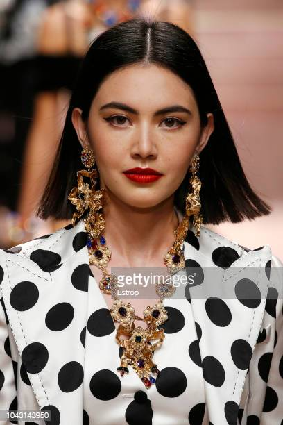 Jewelry at the Dolce Gabbana show during Milan Fashion Week Spring/Summer 2019 on September 23 2018 in Milan Italy