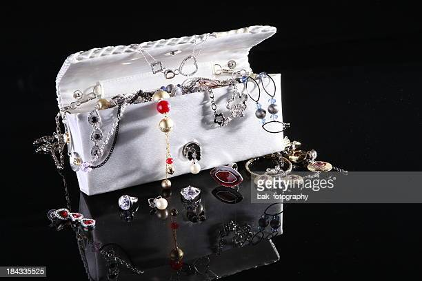 jewelry  bag - metallic purse stock photos and pictures