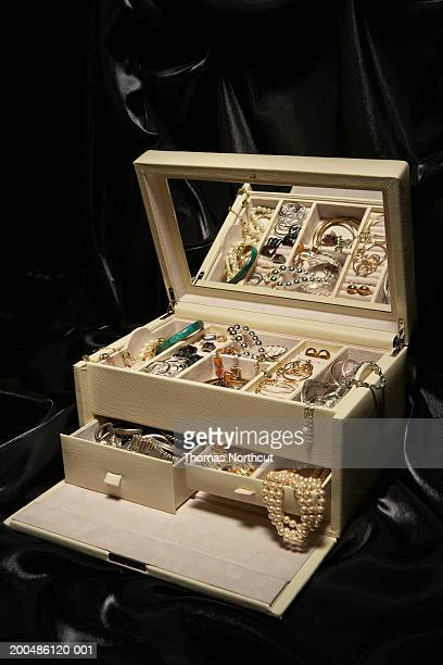 jewelry box filled with jewelry, elevated view - jewelry box stock pictures, royalty-free photos & images