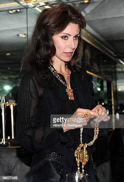 Jewelry designer Angela TassoniNewley shows some of her designs at 'A Parisian Afternoon' hosted by The House of Lloyd Klein Couture on March 24 2010...