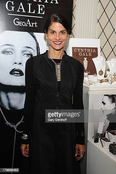 Jewelry designer Cynthia Gale poses at the GBK Sparkling Resort Fashionable Lounge during MercedesBenz Fashion Week on September 6 2013 in New York...