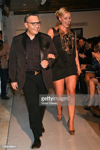 Jewelry designer Daniel Espinosa and Heidi Balvanera walk the runway during the Daniel Espinosa collection jewelry 2012 fashion show at Sport City on...