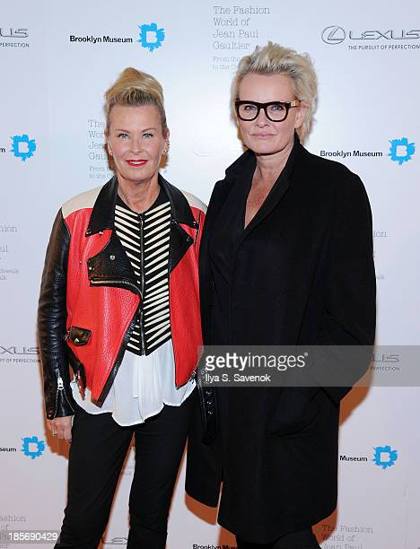 Jewelry designer Efva Attling and Eva Dahlgren attend the VIP reception and viewing for The Fashion World of Jean Paul Gaultier From the Sidewalk to...