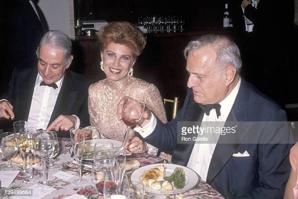 Jewelry designer Kenneth J. Lane, cosmetic entrepreneur Georgette Mosbacher and art historian John Richardson attend the New York City Ballet's 1990...