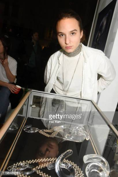 Jewelry designer Lorette Cole Duprat poses with her work during «Deform Scan» Premiere Exhibition Preview at Galerie W Landeau on January 8 2020 in...