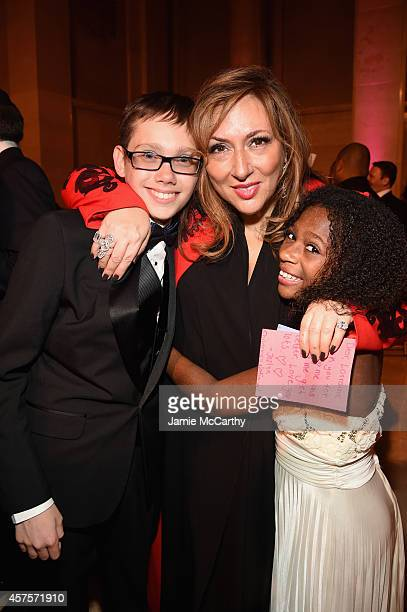 Jewelry Designer Lorraine Schwartz poses with Jozlyn and Jaiman of Children's National Health System at the Angel Ball 2014 hosted by Gabrielle's...
