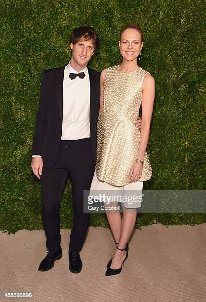 Jewelry designer Marc Alary and Lisa Martinaglia attend The 11th Annual CFDA/Vogue Fashion Fund Awards at Spring Studios on November 3 2014 in New...