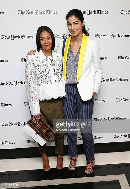 Jewelry designer Monique Pean and Executive Fashion Director at Tank Caroline Issa attend the New York Times Vanessa Friedman and Alexandra Jacobs...
