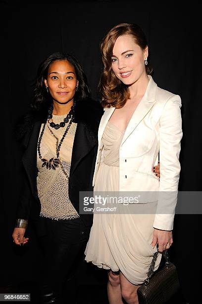 Jewelry designer Monique Pean and Phyllis george seen backstage at J Mendel Fall 2010 during MercedesBenz Fashion Week at Bryant Park on February 18...