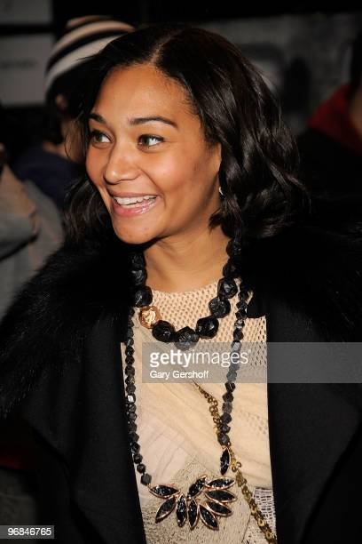 Jewelry designer Monique Pean seen backstage at J Mendel Fall 2010 during MercedesBenz Fashion Week at Bryant Park on February 18 2010 in New York...