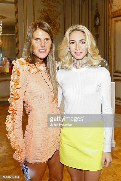 Jewelry Designer Sabine Getty and Anna Dello Russo attend the 'Memphis' Fine jewelry collection launch as part of Paris Fashion Week at Mona Bismarck...