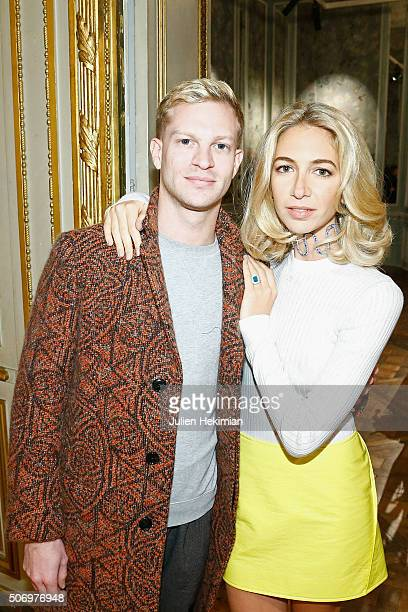 Jewelry Designer Sabine Getty and Christophe Bollore attend the 'Memphis' Fine jewelry collection launch as part of Paris Fashion Week at Mona...