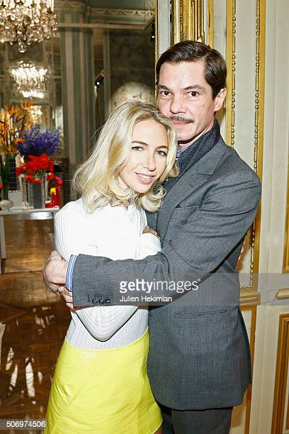 Jewelry Designer Sabine Getty and Elie Top attend the 'Memphis' Fine jewelry collection launch as part of Paris Fashion Week at Mona Bismarck...