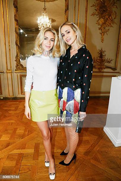Jewelry Designer Sabine Getty and Elisabeth Von Thurn Und Taxis attend the 'Memphis' Fine jewelry collection launch as part of Paris Fashion Week at...