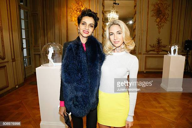 Jewelry Designer Sabine Getty and Farida Kelfa attend the 'Memphis' Fine jewelry collection launch as part of Paris Fashion Week at Mona Bismarck...