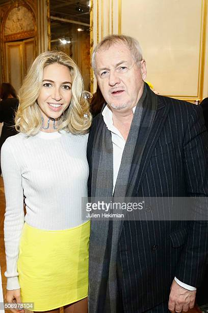 Jewelry Designer Sabine Getty and Godfrey Deeny attend the 'Memphis' Fine jewelry collection launch as part of Paris Fashion Week at Mona Bismarck...