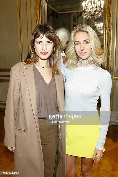 Jewelry Designer Sabine Getty and Jeanne Damas attend the 'Memphis' Fine jewelry collection launch as part of Paris Fashion Week at Mona Bismarck...