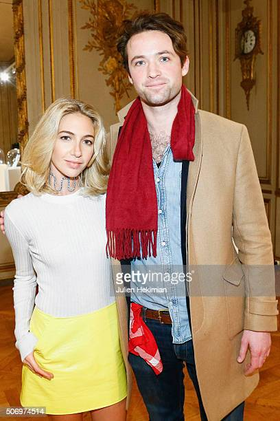 Jewelry Designer Sabine Getty and Louis Marie de Castelbajac attend the 'Memphis' Fine jewelry collection launch as part of Paris Fashion Week at...