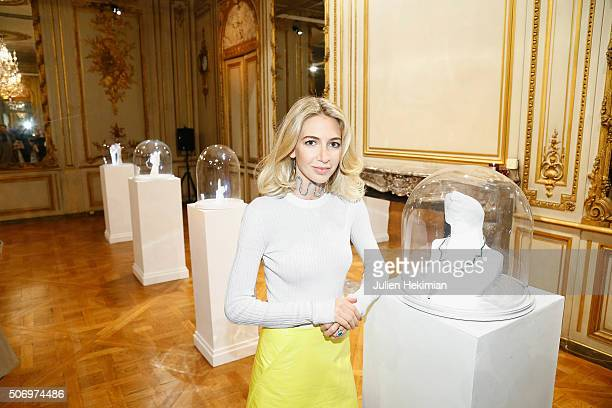 Jewelry Designer Sabine Getty attends her 'Memphis' Fine jewelry collection launch as part of Paris Fashion Week at Mona Bismarck American Center on...