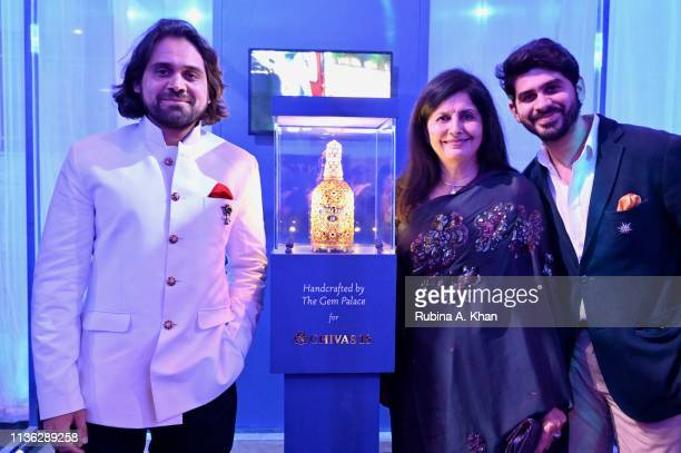 Jewelry designer Siddharth Kasliwal with his mother Kalpana Kasliwal and brother Samarth Kasliwal at the third edition of Chivas 18 Alchemy 2019 on...