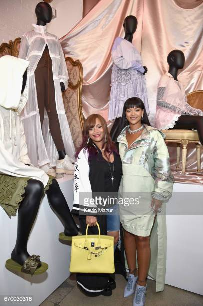 Jewelry designer Simone Smith and Rihanna at the FENTY PUMA by Rihanna Experience on April 18 2017 in Los Angeles California