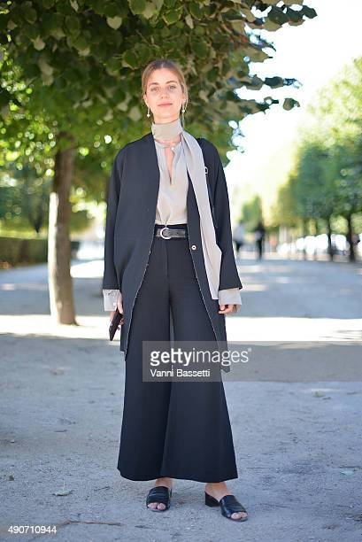 Jewelry designer Sophie Buhai poses after the Lemaire show at the Jeu de Paume during Paris Fashion Week SS16 on September 30 2015 in Paris France