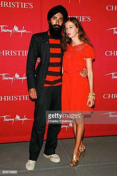 Jewelry designer Waris Ahluwalia and Chiara Clemente attend Christie's Resurrection Avant Garde Fashion Contemporary Art at 20 Rockefeller Plaza on...