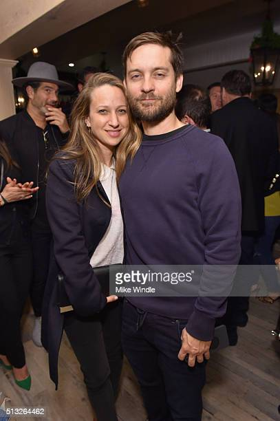 Jewelry designerJennifer Meyer and actor Tobey Maguire attend the Grand Opening Of Au Fudge Presented By Amazon Family on March 1 2016 in West...