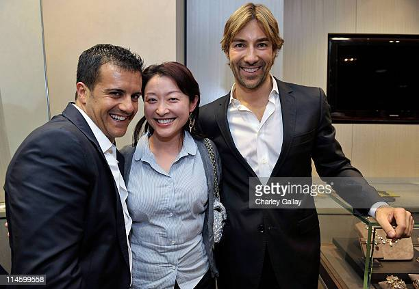 Jewelry designers Amedeo Scognamiglio and Roberto Faraone Mennella with Sally Chang attend a personal appearance By Faraone Mennella at Saks Fifth...