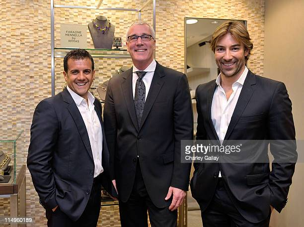 Jewelry designers Amedeo Scognamiglio and Roberto Faraone Mennella with Saks Fifth Avenue Beverly Hills' Larry Bruce attend a personal appearance by...