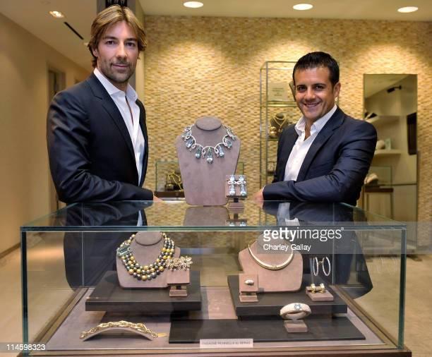 Jewelry designers Roberto Faraone Mennella and Amedeo Scognamiglio attend a personal appearance By Faraone Mennella at Saks Fifth Avenue on October 1...