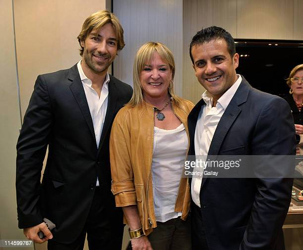 Jewelry designers Roberto Faraone Mennella and Amedeo Scognamiglio with Patty Applegate attend a personal appearance By Faraone Mennella at Saks...
